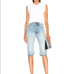 HELMUT LANG | Long blue cutoff jean short